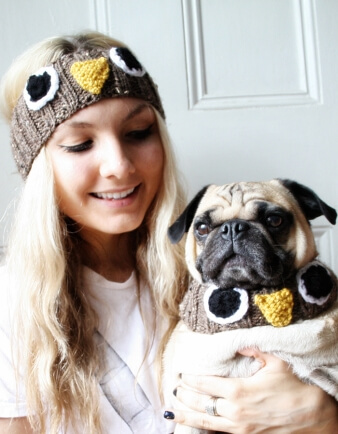 Matching Adult & Dog Owl Headband Set