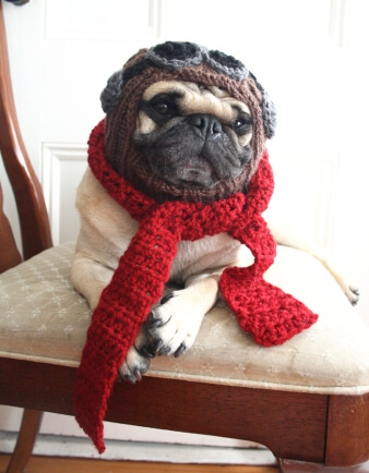 The Red Baron Dog Hat and Scarf Set