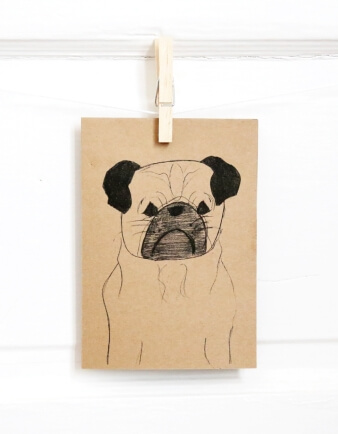 Pug Sketch Greeting Card