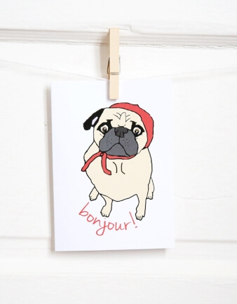 Parisian Pug Card