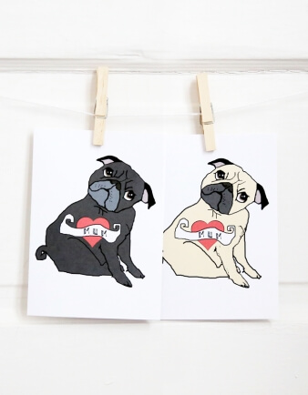 Pug Tattoo Mother's Day Card