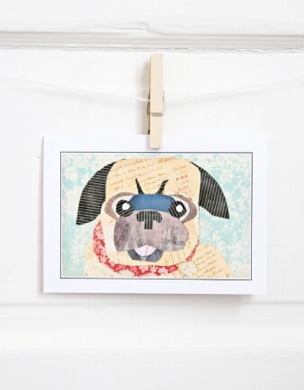 Pug Collage Card