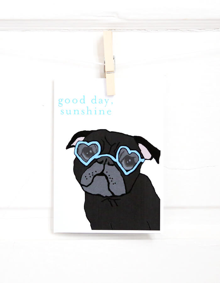 Sunshine Black Pug Card