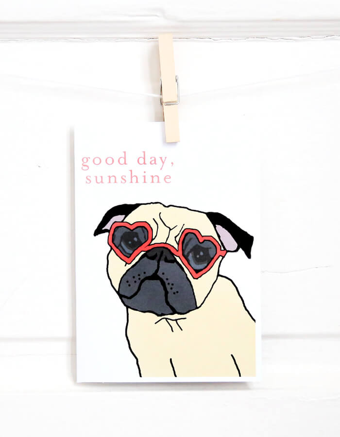 Sunshine Pug Card