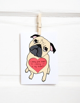 Pug Heart Valentine Card