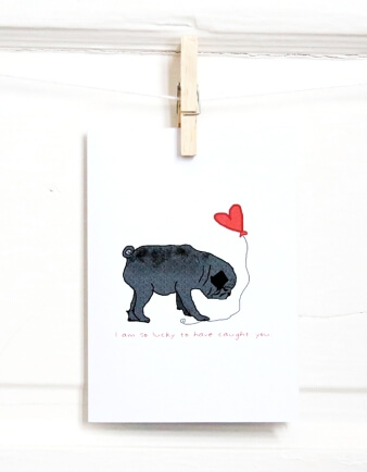 Black Pug In Love Card