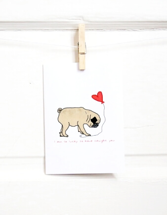 Pug In Love Card