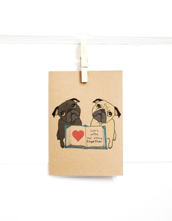 Our Story Pug Greeting Card