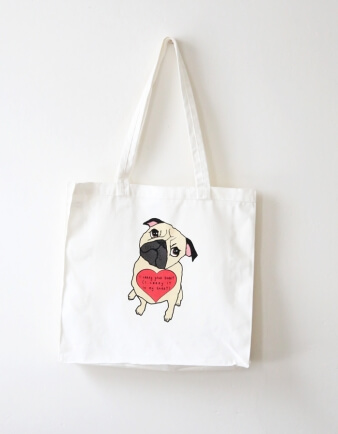 I Carry Your Heart Pug Tote Bag
