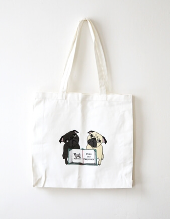 Pugs and Prejudice Tote Bag