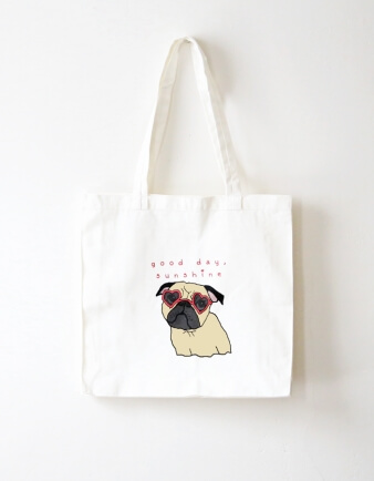 Sunshine Pug Tote Bag