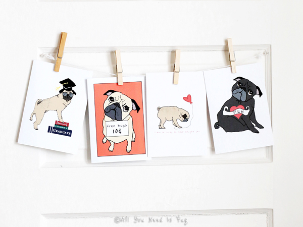 Create your own greeting card gallery all you need is pug all you need is pug greeting card display m4hsunfo
